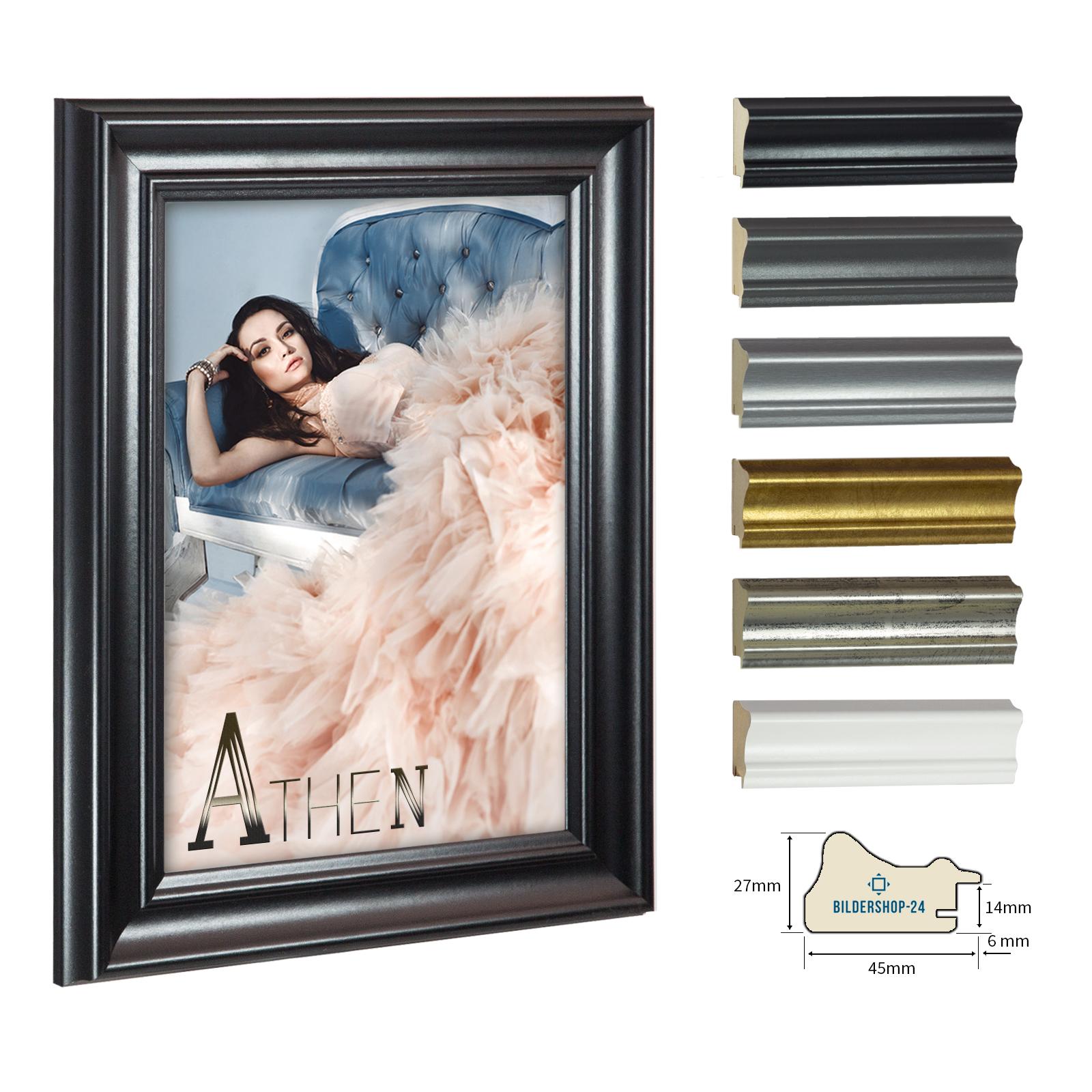 bilderrahmen barockrahmen athen 90x120 70x100 30x40 60x80 gold silber wei alu ebay. Black Bedroom Furniture Sets. Home Design Ideas