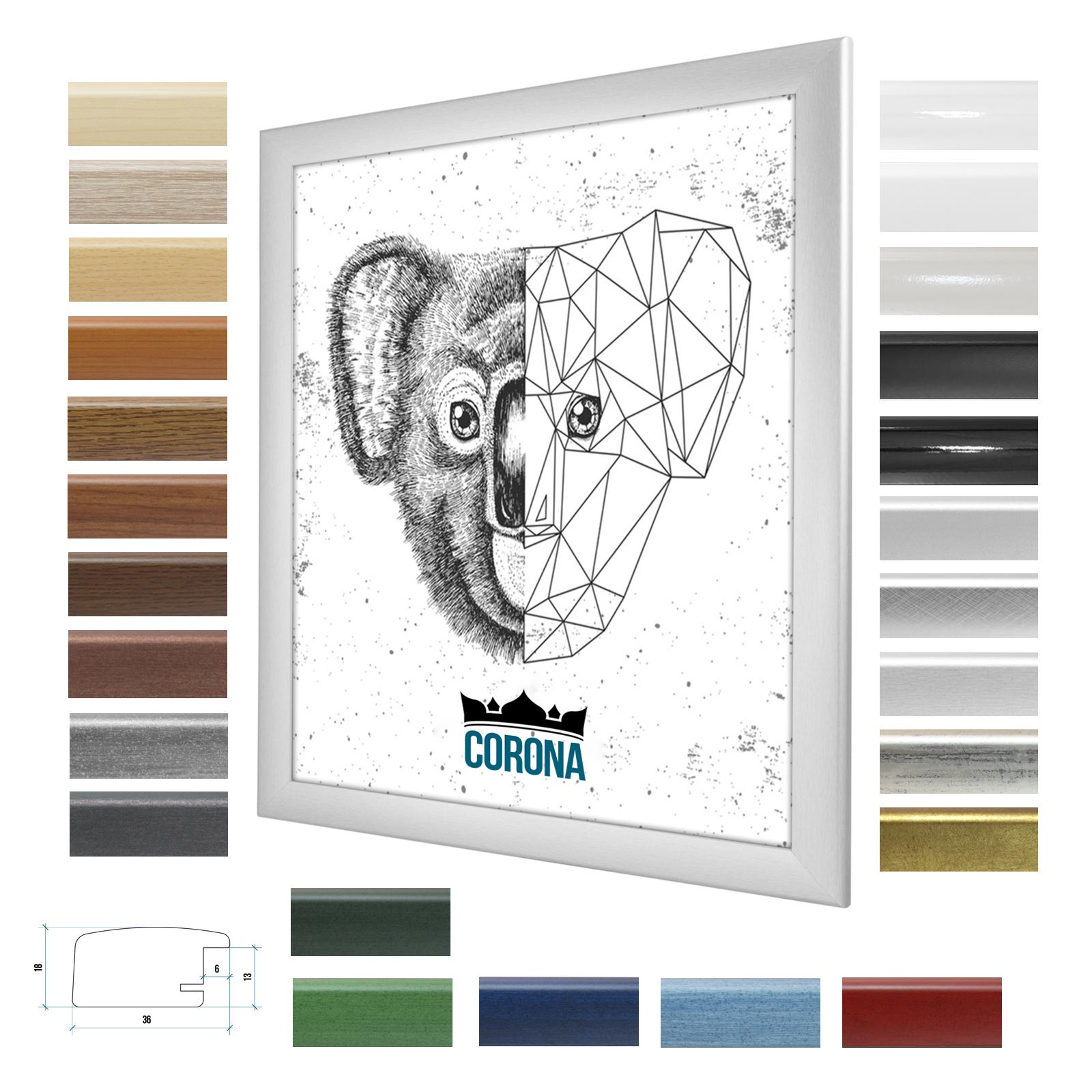 bilderrahmen corona in 25 farben 40x50 50x40 modern wechselrahmen neu poster ebay. Black Bedroom Furniture Sets. Home Design Ideas