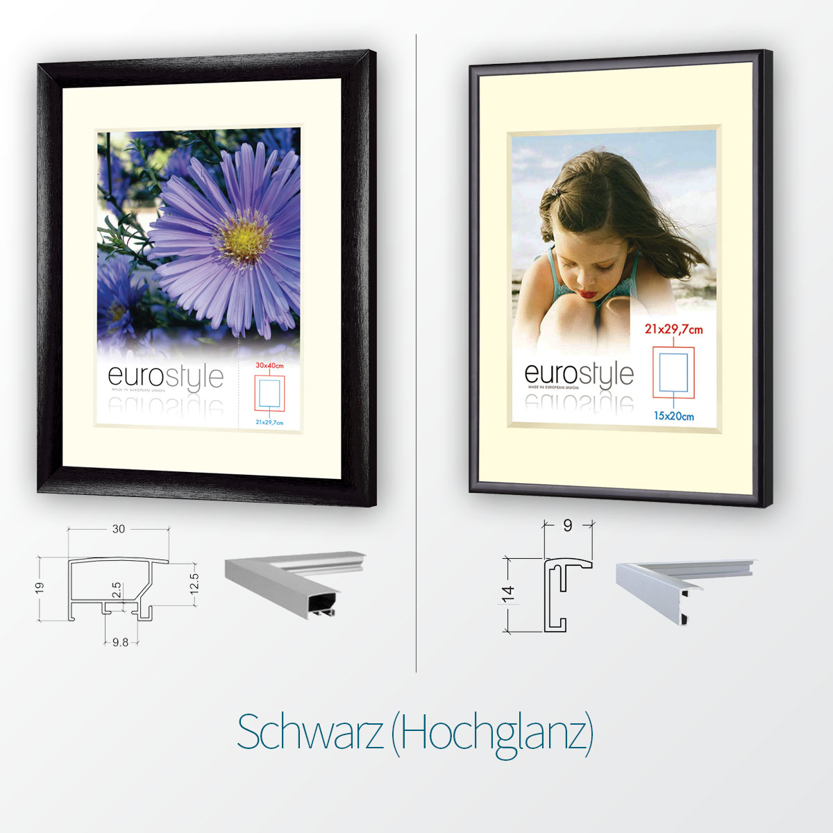 aluminium bilderrahmen in 4 farben und 2 profil breiten alu rahmen plakat rahmen ebay. Black Bedroom Furniture Sets. Home Design Ideas