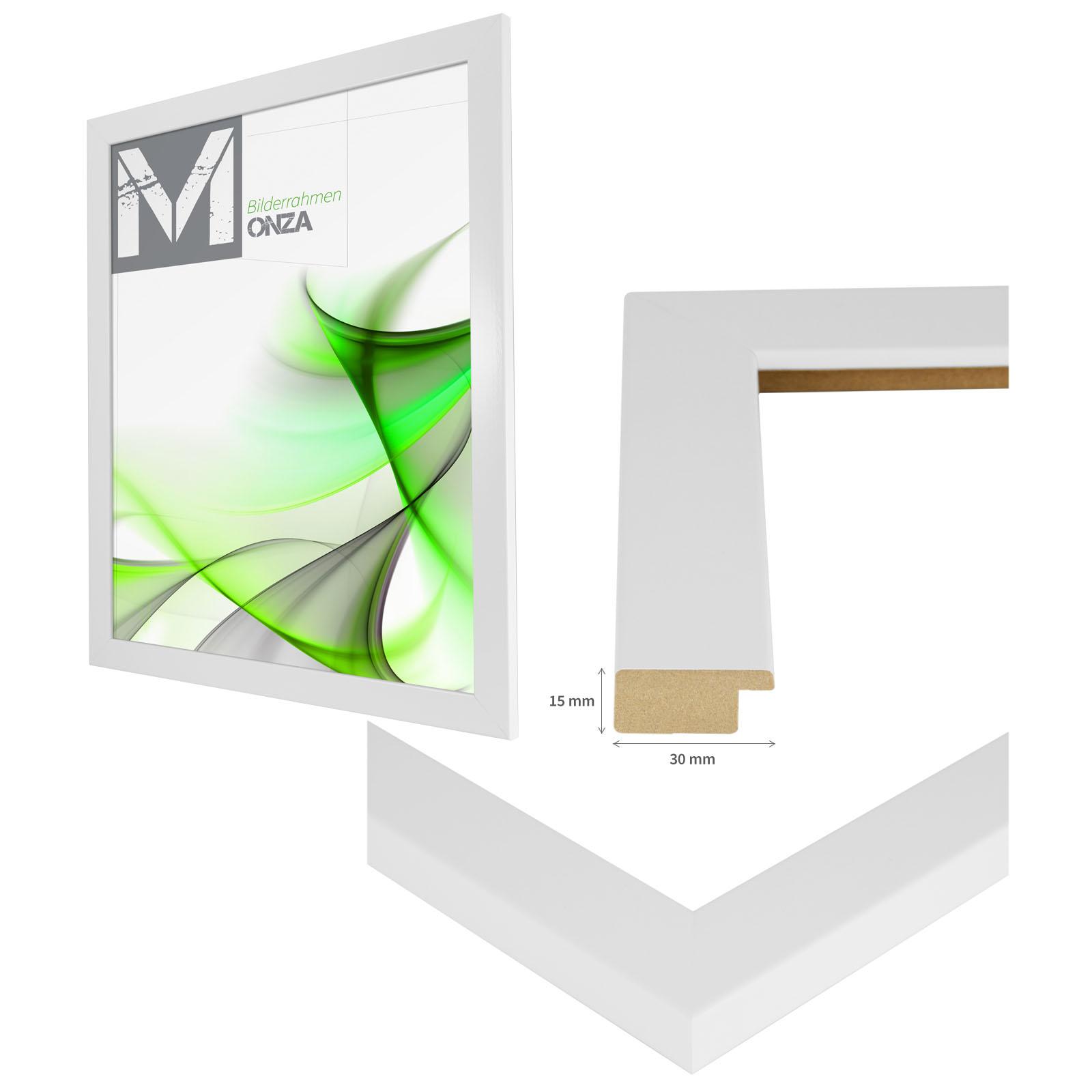 Bilderrahmen MONZA WEISS GLANZ 54 Größen Holz MDF Profil Foto Poster ...